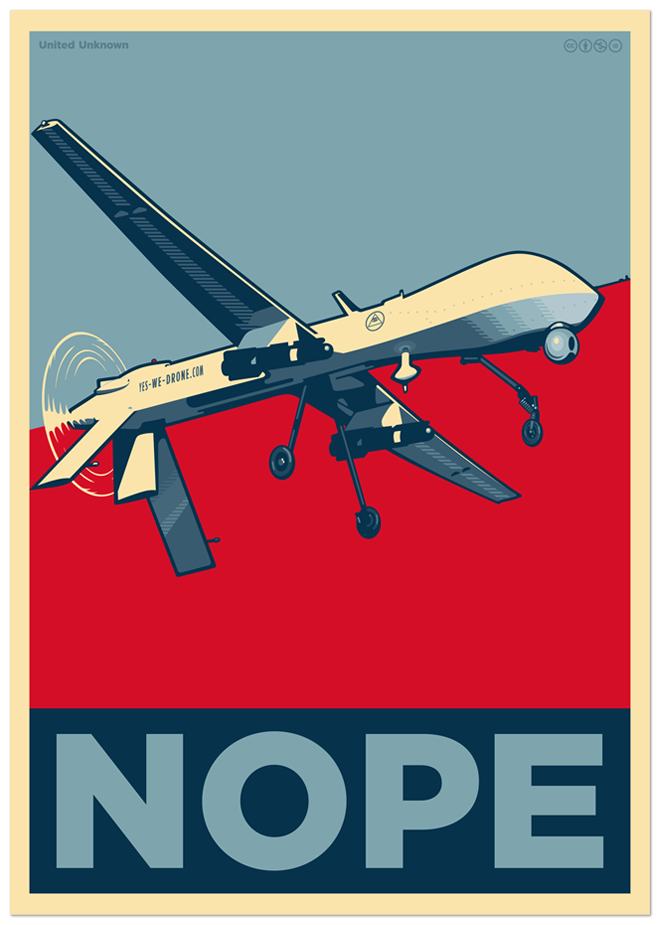 Yes we drone. Poster