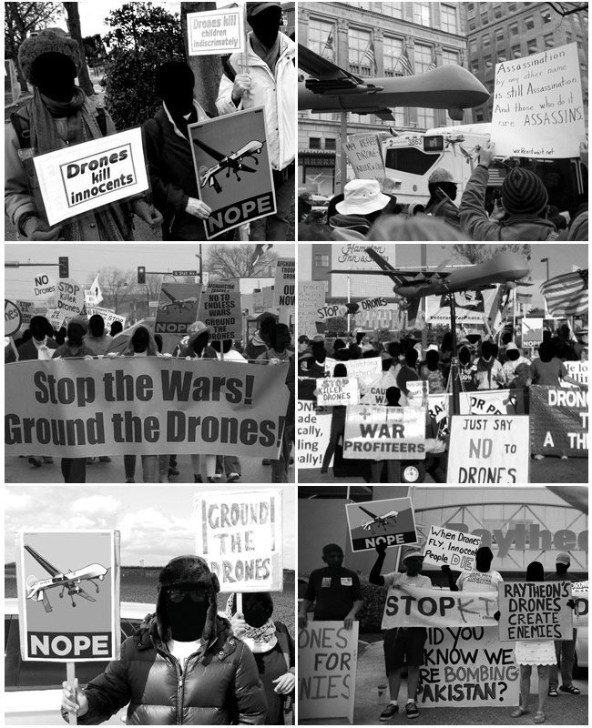 Yes we drone. Protest